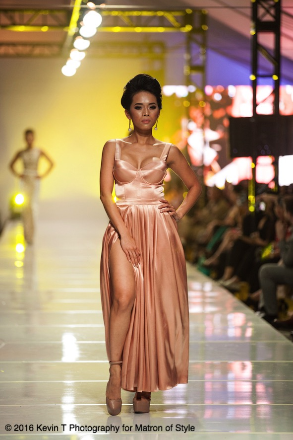 Femme rose gold satin gown